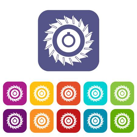 Circular saw disk icons set vector illustration in flat style In colors red, blue, green and other