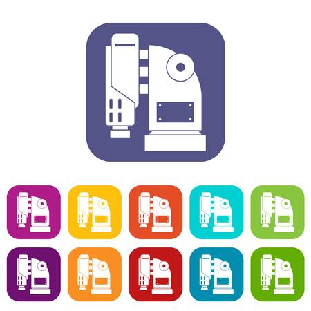 jack tar: Pneumatic hammer machine icons set vector illustration in flat style In colors red, blue, green and other