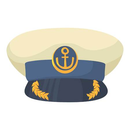 Officer cap icon, cartoon style