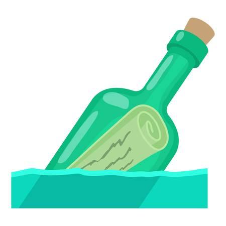 Bottle with message icon, cartoon style Illustration