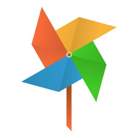 wind mill toy: Origami mill icon, cartoon style Illustration