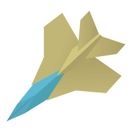 asian business: Origami aircraft icon, cartoon style