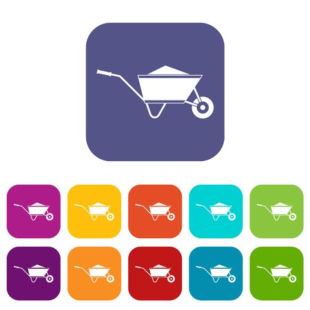 Wheelbarrow with sand icons set vector illustration in flat style In colors red, blue, green and other Illustration