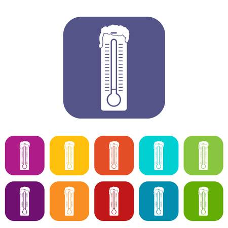 scale: Thermometer icons set vector illustration in flat style In colors red, blue, green and other