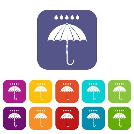 Paraplu en regen druppels pictogrammen instellen vectorillustratie in vlakke stijl In de kleuren rood, blauw, groen en andere