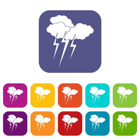 Cloud with lightnings icons set vector illustration in flat style In colors red, blue, green and other
