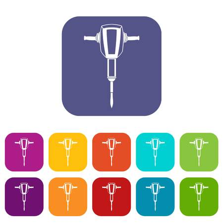 Pneumatic plugger hammer icons set vector illustration in flat style In colors red, blue, green and other