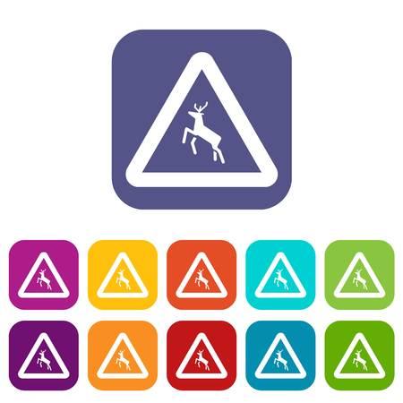 danger ahead: Deer traffic warning sign icons set