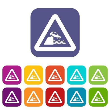 Riverbank verkeersbord iconen set Stock Illustratie