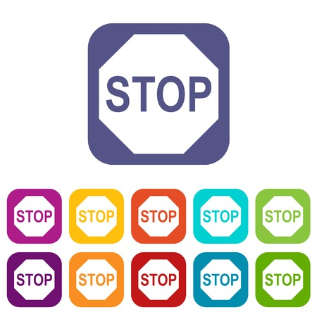 danger ahead: Stop sign icons set