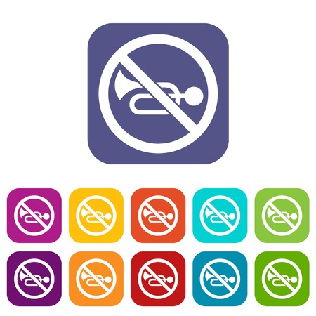 No horn traffic sign icons set