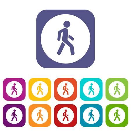 Pedestrians only road sign icons set Stock Vector - 82250263