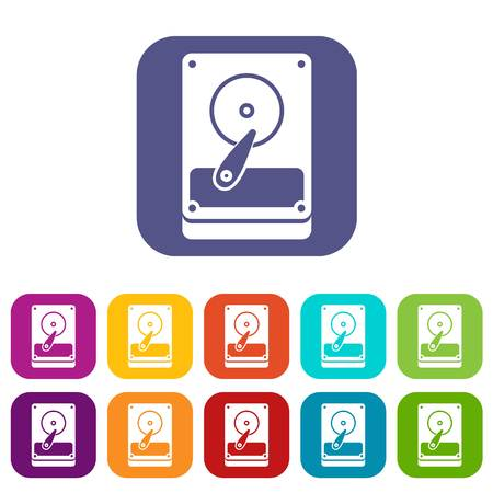 HDD icons set vector illustration in flat style In colors red, blue, green and other Illustration