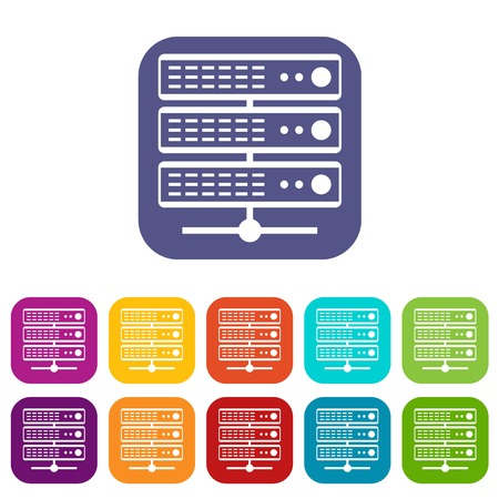 hard: Servers icons set vector illustration in flat style In colors red, blue, green and other