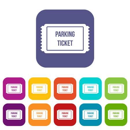 Le icone del biglietto di parcheggio hanno messo l'illustrazione di vettore nello stile piano nei colori rosso, blu, verde ed altro Vettoriali