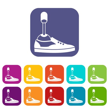 amputee: Prosthetic leg icons set vector illustration in flat style In colors red, blue, green and other