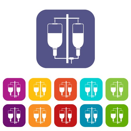 Intravenous infusion icons set vector illustration in flat style In colors red, blue, green and other