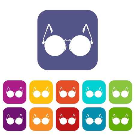 Glasses for blind icons set vector illustration in flat style In colors red, blue, green and other Illustration
