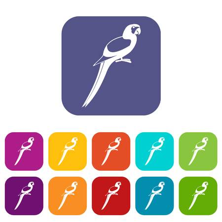 genus: Parrot icons set vector illustration in flat style In colors red, blue, green and other
