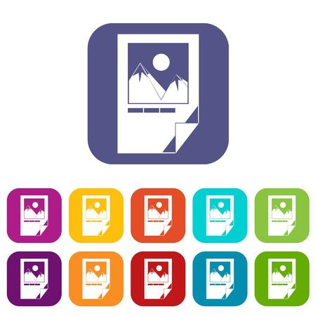 Geteste inkt papier met printer merken pictogrammen instellen vectorillustratie in vlakke stijl In de kleuren rood, blauw, groen en andere