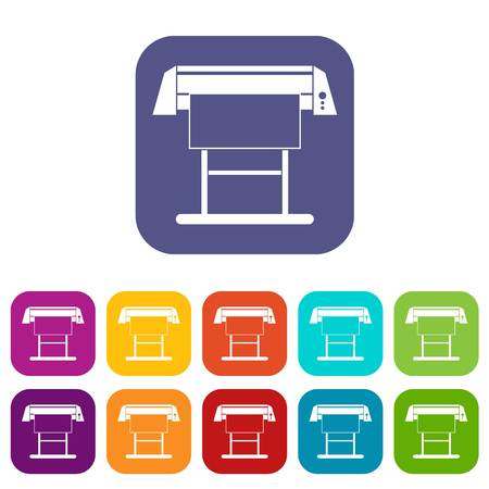 plotting: Large format inkjet printer icons set vector illustration in flat style In colors red, blue, green and other