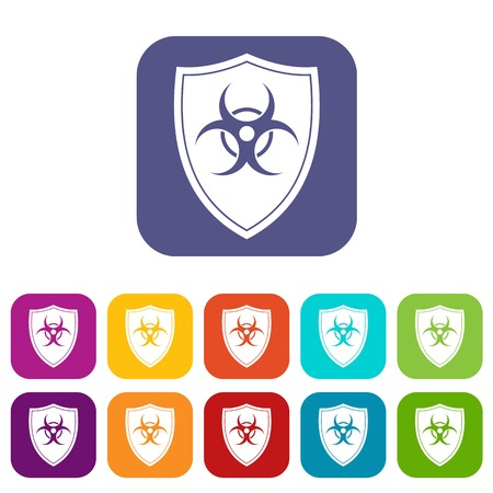 Shield with a biohazard sign icons set Stock Vector - 82251443