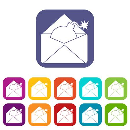 email bomb: Envelope with bomb icons set