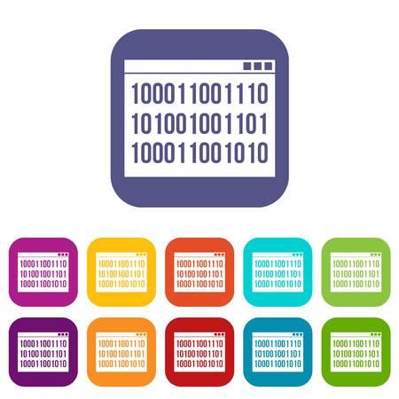 Binary code icons set vector