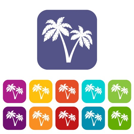 Two palms icons set