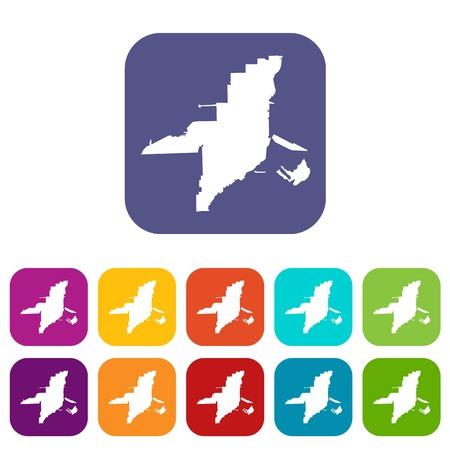 A Florida map icons set illustration. Illustration