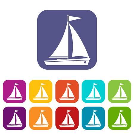 Yacht icons set