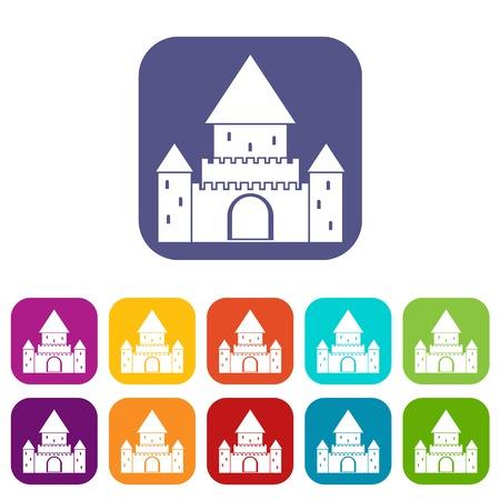 Chillon Castle, Switzerland icons set