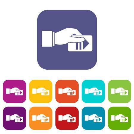 Mano con set di icone del parcheggio