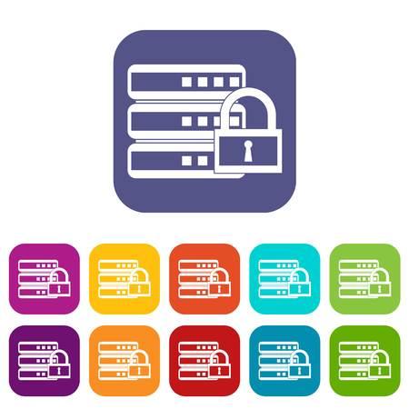 hard: Database with padlock icons set Illustration