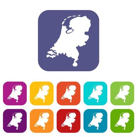 Holland kaartpictogrammen instellen vectorillustratie in vlakke stijl In de kleuren rood, blauw, groen en andere
