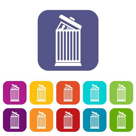 thrown: Resume thrown away in the trash can icons set illustration.