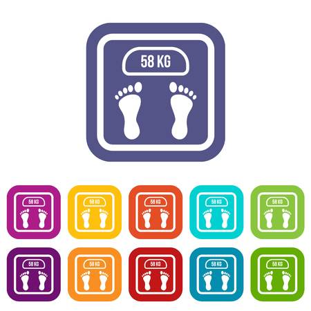 scale: Weight scale icons set illustration.