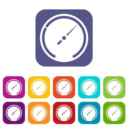 Speedometer icons set vector illustration in flat style In colors red, blue, green and other Illustration