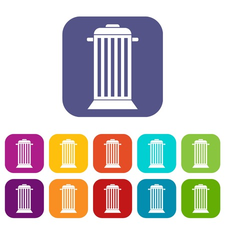 refuse: Street trash icons set vector illustration in flat style In colors red, blue, green and other