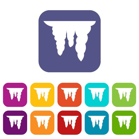 Icicles icons set vector illustration in flat style In colors red, blue, green and other