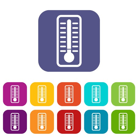 low scale: Cold thermometer icons set vector illustration in flat style In colors red, blue, green and other Illustration