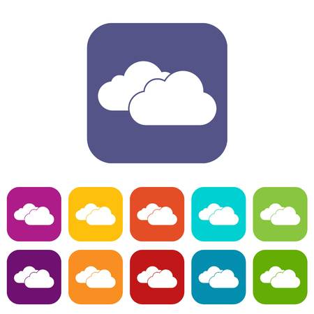 Clouds icons set vector illustration in flat style In colors red, blue, green and other
