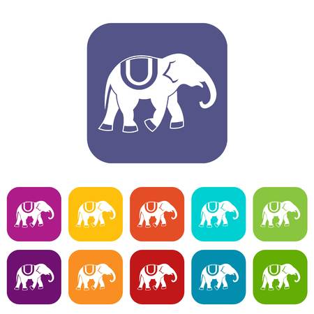 Elephant icons set vector illustration in flat style In colors red, blue, green and other