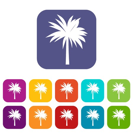 Palm icons set vector illustration in flat style In colors red, blue, green and other Illustration