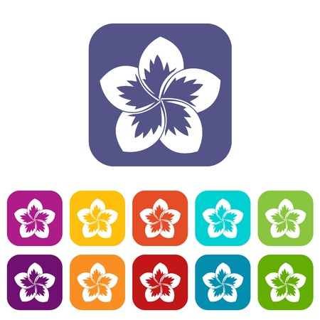 Frangipani flower icons set vector illustration in flat style In colors red, blue, green and other Illustration