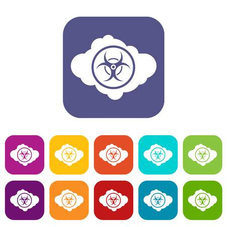 Cloud with biohazard symbol icons set vector illustration in flat style In colors red, blue, green and other