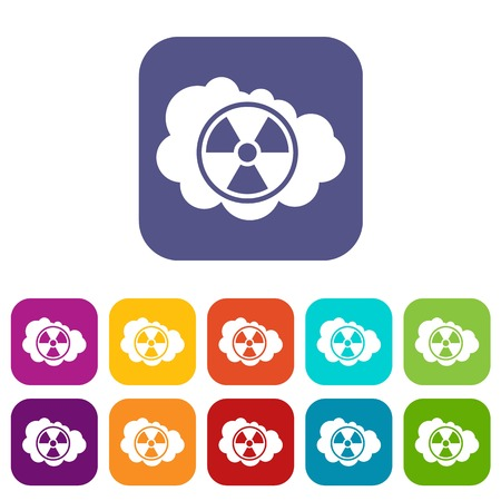 fission: Cloud and radioactive sign icons set vector illustration in flat style In colors red, blue, green and other