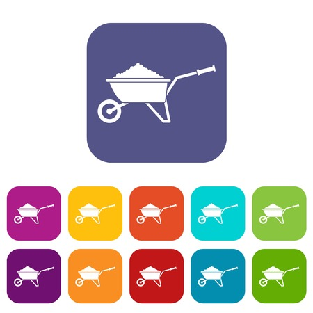 Wheelbarrow loaded with soil icons set vector illustration in flat style In colors red, blue, green and other Illustration