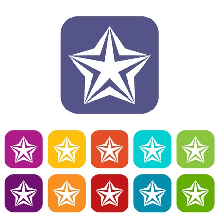 rate: Star icons set vector illustration in flat style In colors red, blue, green and other