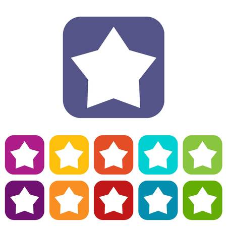 five star: Star icons set vector illustration in flat style In colors red, blue, green and other